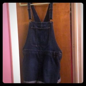 Denim overall shorts romper with pockets